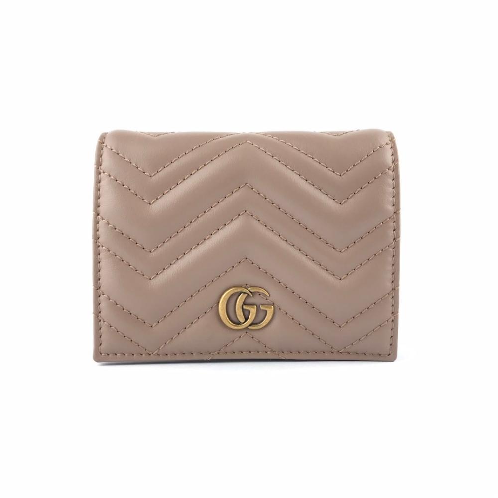 GUCCI GG Marmont 馬夢絎縫 牛皮 復古金屬 卡夾 皮夾 短夾 零錢包 裸粉色 466492