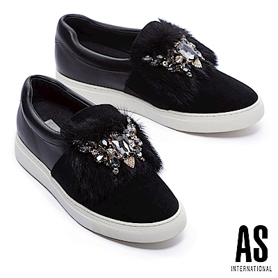 休閒鞋 AS 奢華風範水貂毛鑽飾全真皮厚底休閒鞋-黑