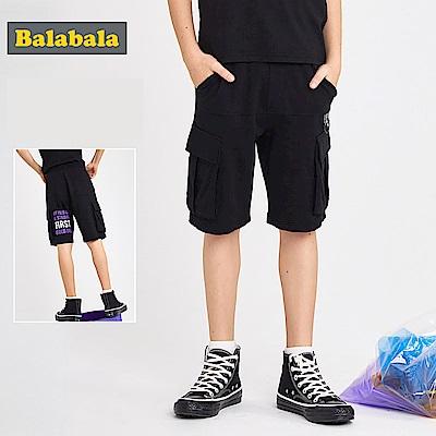Balabala巴拉巴拉-大口袋英文字印花休閒短褲-男(2色)