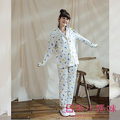 日系小媽咪孕婦裝-哺乳衣~可愛滿版恐龍側開哺乳套裝 瑜珈腰圍 M-L
