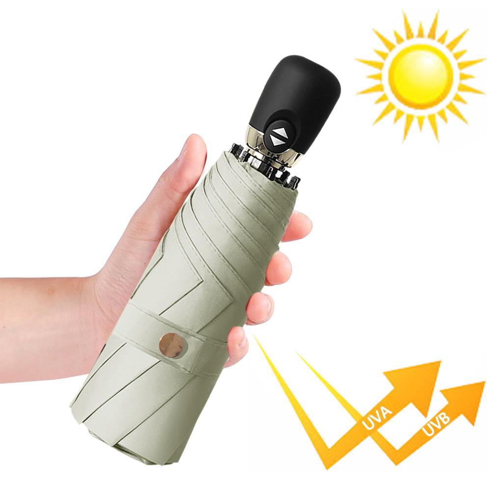 幸福揚邑  鈦防曬抗UV降溫UPF50+全自動8骨晴雨口袋迷你五折疊傘-米咖
