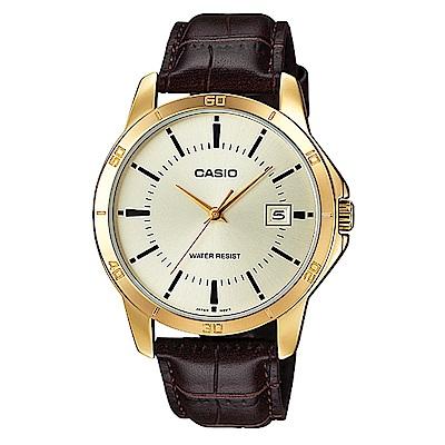 CASIO 時尚型男羅馬指針皮帶錶(MTP-V004GL-9)黃面X金框/41.5mm