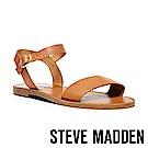 STEVE MADDEN-DONDDI經典真皮一字繫帶涼鞋-棕色