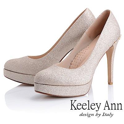 Keeley Ann 高雅出眾~雅緻寶石點綴真皮軟墊新娘晚宴高跟鞋(金色)