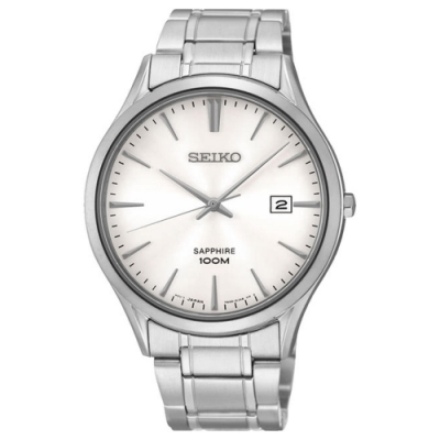 SEIKO 精工 時尚玩家藍寶石水晶腕錶-銀(SGEG93P1)