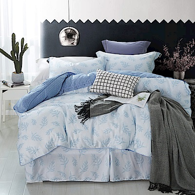 夢工場 晨雲暮間40支紗天絲頂規款四件套鋪棉床罩組-雙人