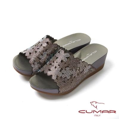 CUMAR情迷哈瓦那 -雷射花朵鑽飾厚底涼拖鞋-灰