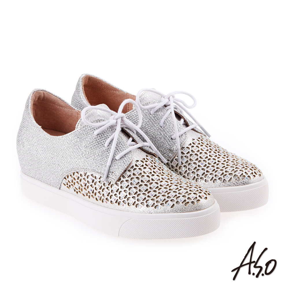 A.S.O 炫麗魅惑 水鑽舒適綁帶內增高休閒鞋 銀