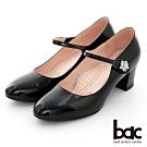 【bac】復古風潮花朵鑽飾瑪莉珍粗跟高跟鞋-黑色