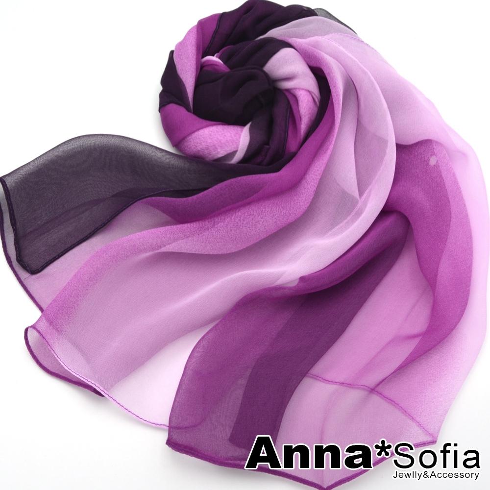 AnnaSofia 漸層幻色 軟柔雪紡 仿蠶絲領巾絲巾圍巾(粉紫系)