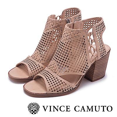 VINCE CAMUTO 優雅編織簍空粗高跟鞋-粉色