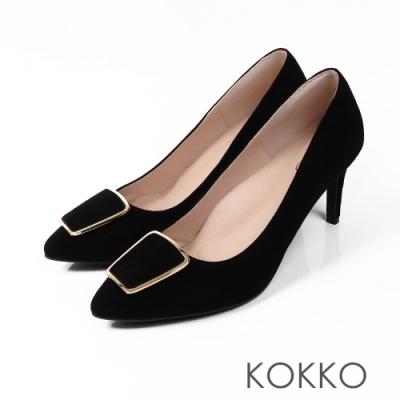 KOKKO - 凱莉的公寓方扣尖頭經典高跟鞋-黑眼線