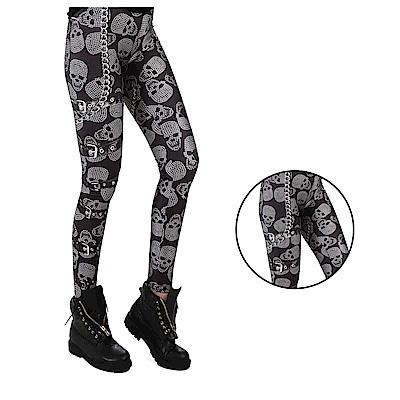 摩達客 英國進口義大利製Pamela Mann 骷髏鎖鏈圖紋內搭褲
