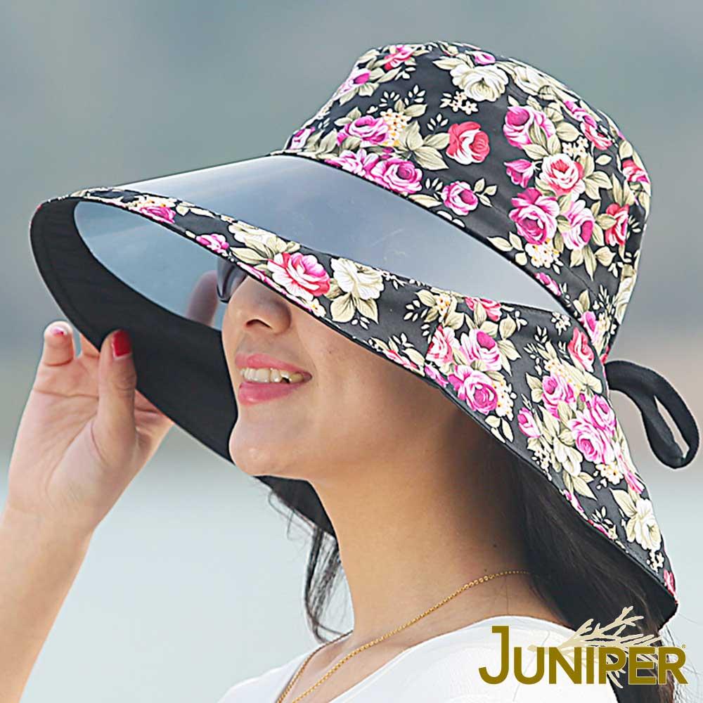 JUNIPER 女款抗紫外線UV防潑水鏡面花布高頂遮陽漁夫帽