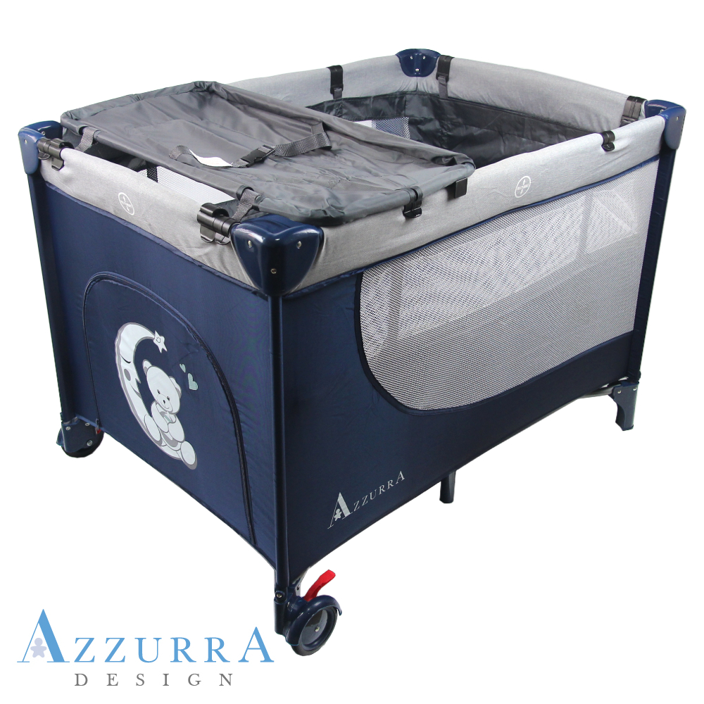 AZZURRA Travel雙層遊戲床(附蚊帳)加尿布台-藍