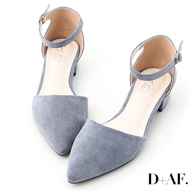 D+AF 完美視覺.尖頭側空低跟瑪莉珍鞋*淺藍