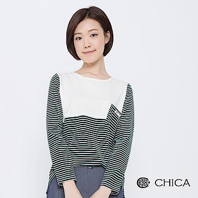 CHICA-晨日漫步狗骨頭吊牌條紋上衣-2色