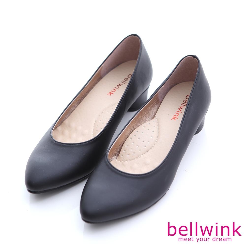 bellwink-素面純色皮革低跟鞋-黑-b1001bk