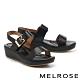 涼鞋 MELROSE 極簡時尚一字繫帶楔型涼鞋-黑 product thumbnail 1