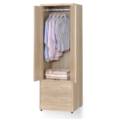 時尚屋 格納2尺雙門二抽衣櫃 寬60x深58x高180公分