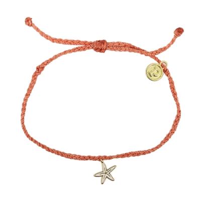 Pura Vida 美國手工 金色海星 腮紅橘蠟線可調式手鍊衝浪海灘防水手繩