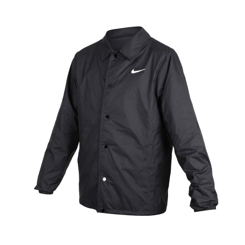 NIKE 男休閒外套-風衣外套 立領外套 慢跑 黑白