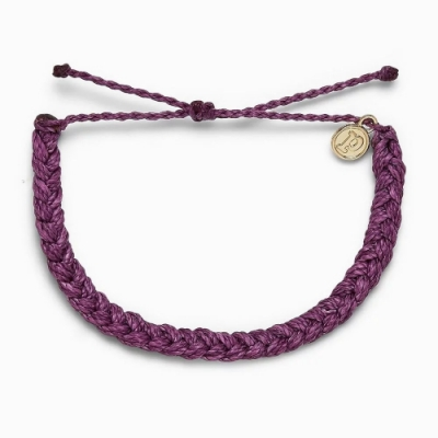 Pura Vida 美國品牌 DARK LILAC BRAIDED 丁香紫色粗線編織 可調式衝浪手環