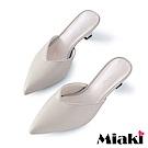 Miaki-穆勒鞋V字設計尖頭高跟拖鞋-白