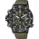 CITIZEN 星辰 PROMASTER 光動能專業登山錶-綠/46mm
