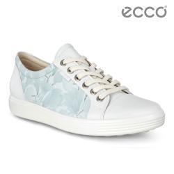 ECCO SOFT 7 W 經典輕巧休閒鞋 花色限定 女-白/藍花紋