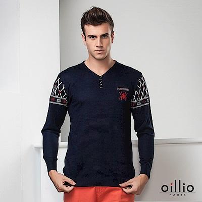 歐洲貴族oillio 長袖線衫 創意圖騰 V領款式 丈青色