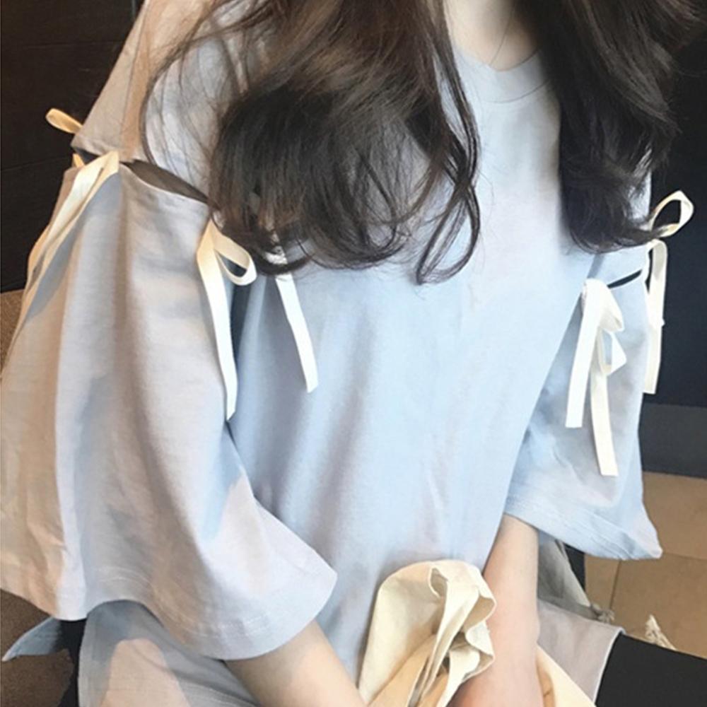 Lockers 木櫃 新潮半袖鏤空綁帶T恤/上衣-2色
