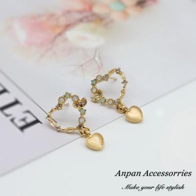 【ANPAN愛扮】韓東大門愛心浪漫花語925銀針耳釘式耳環-垂墜款