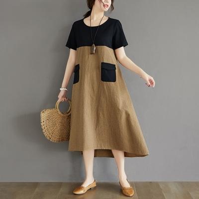 米蘭精品 連身裙短袖洋裝-拼色格紋拼接雙口袋女裙子3色73xz20