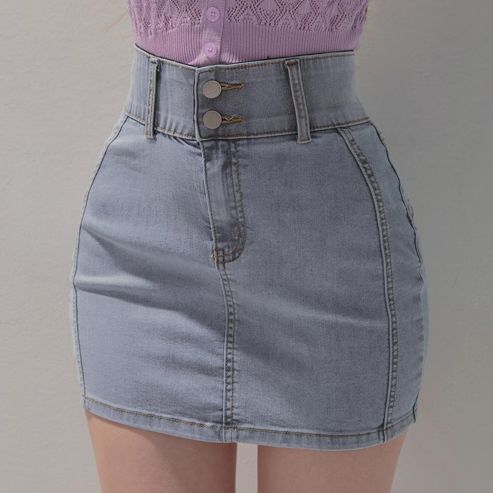 AIR SPACE 零修圖翹臀高腰顯瘦涼感牛仔短裙(藍)