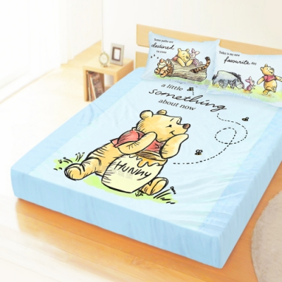 享夢城堡 雙人加大床包枕套5x6.2三件組-迪士尼小熊維尼Pooh 蜂蜜小事-米黃.藍