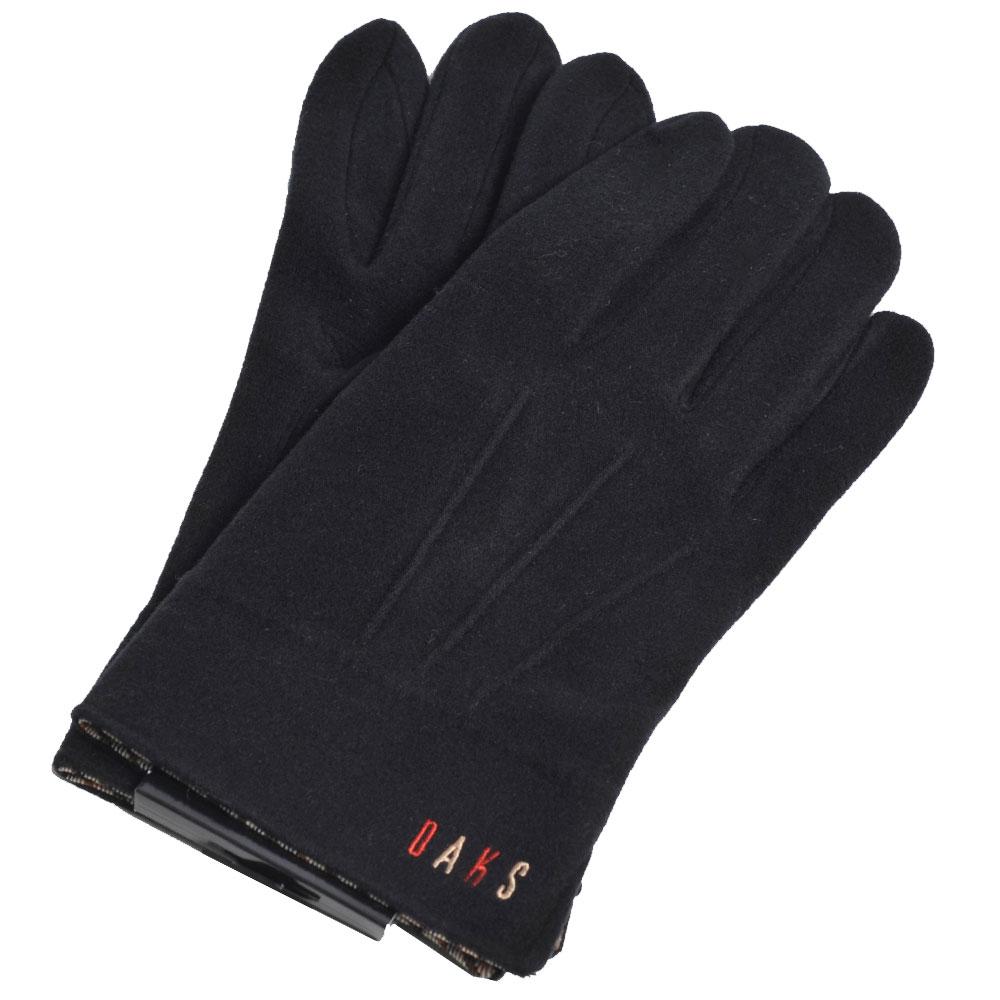 DAKS 日本製科技纖維格紋滾邊彩色刺繡字母LOGO手套(黑)