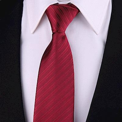拉福  歐美領帶8cm寬版領帶拉鍊領帶(紅斜)