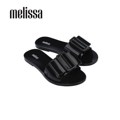 Melissa BABE扣環造型一字拖鞋-黑