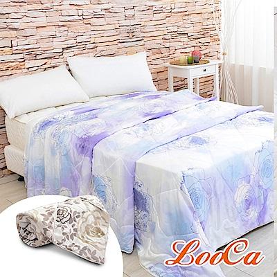 (超值組)LooCa 柔紫薔薇2kg 100%蠶絲被+蠶絲四季被