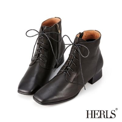 HERLS短靴-全真皮素面方頭綁帶低跟短靴-黑色