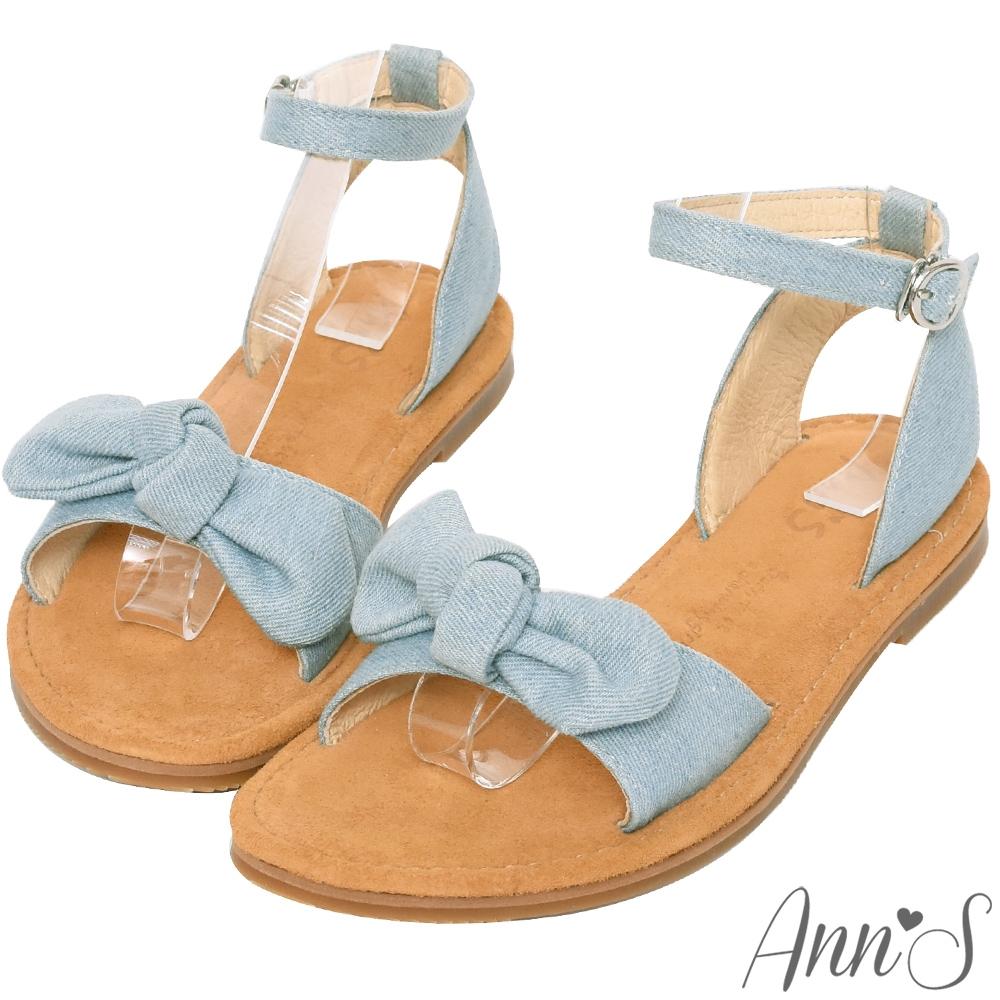 Ann'S水洗牛皮-甜美扭結寬版平底涼鞋-淺藍