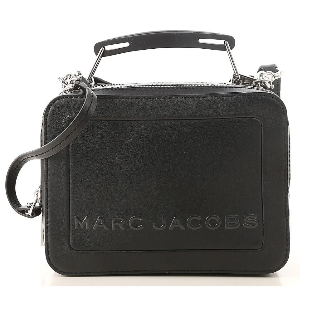 MARC JACOBS THE BOX 20 雙拉鍊牛皮手提/肩背兩用包(小款/經典黑)