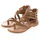 JMS-簡約日系交叉環踝羅馬夾腳涼鞋-棕色 product thumbnail 1