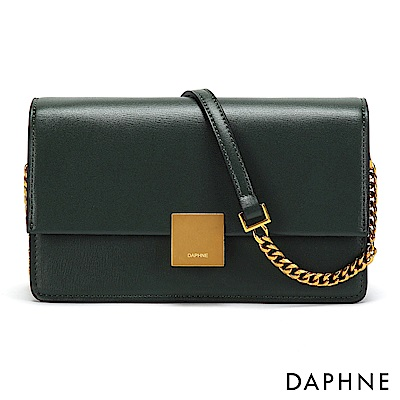 達芙妮DAPHNE-異材質拼接金屬方釦鏈帶小方包-墨綠