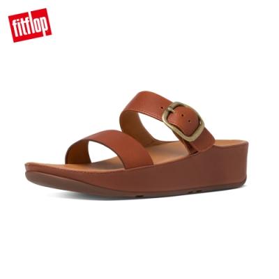 FitFlop STACK SLIDE 可調式皮革雙帶涼鞋 深褐色