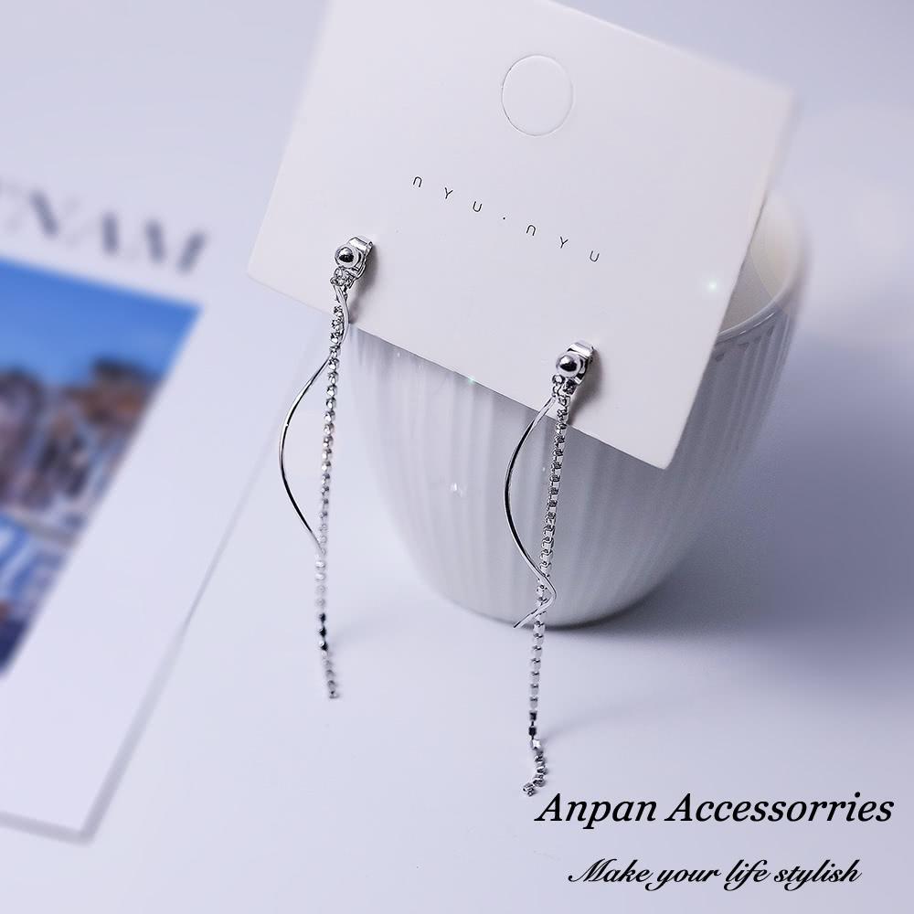 【Anpan 愛扮】韓東大門S925純銀雙層水鑽流蘇前後扣多戴式耳釘式耳環