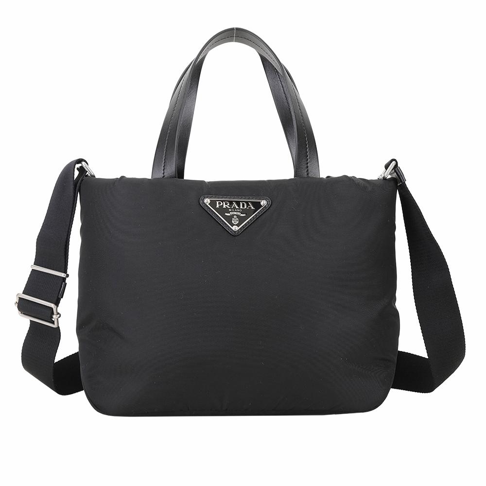 PRADA Tessuto 小款 三角標誌空氣尼龍手提/肩背包(黑色)
