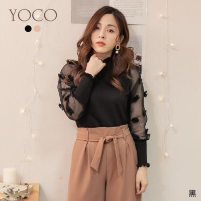 東京著衣-YOCO 高貴氣質透膚荷葉滾邊針織上衣