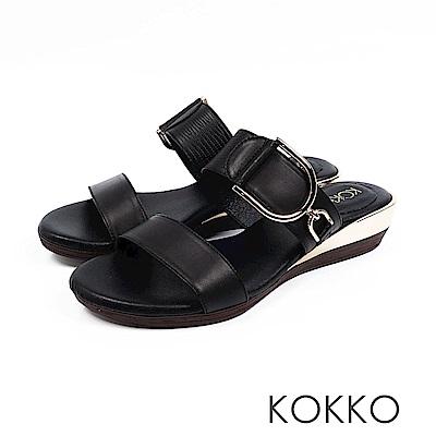 KOKKO - 極度舒適軟墊牛皮楔型涼拖鞋 - 墨鯨黑
